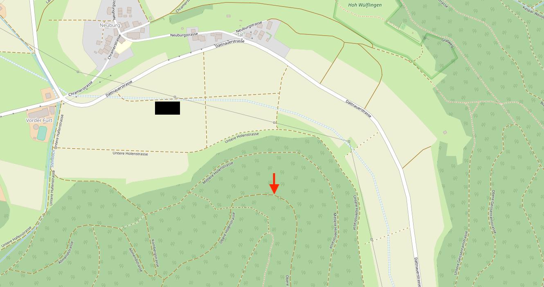 Karte vom Standort der Quellhöhle St. Pirminsbrunnen
