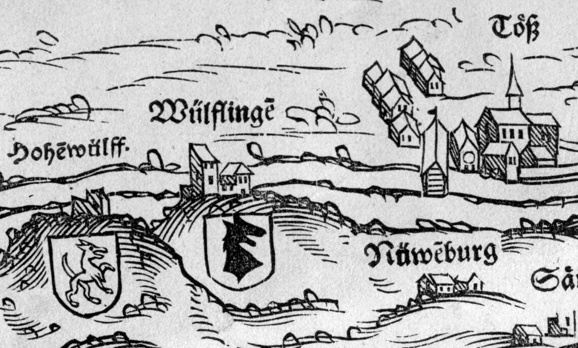 Der Turm Alt Wüflingen mit Pultdach auf der Karte von 1566