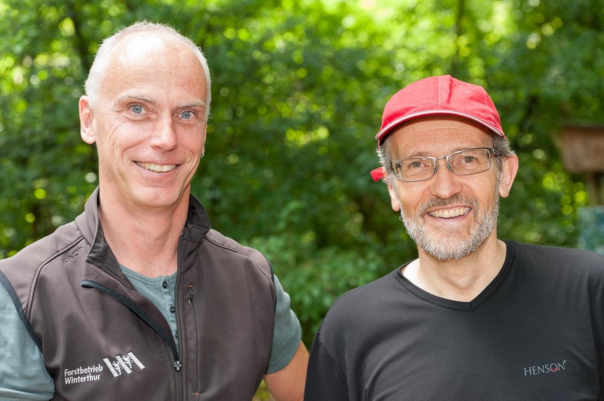 Stadtforstmeister Beat Kunz (l.) und Stadtrat Matthias Gfeller