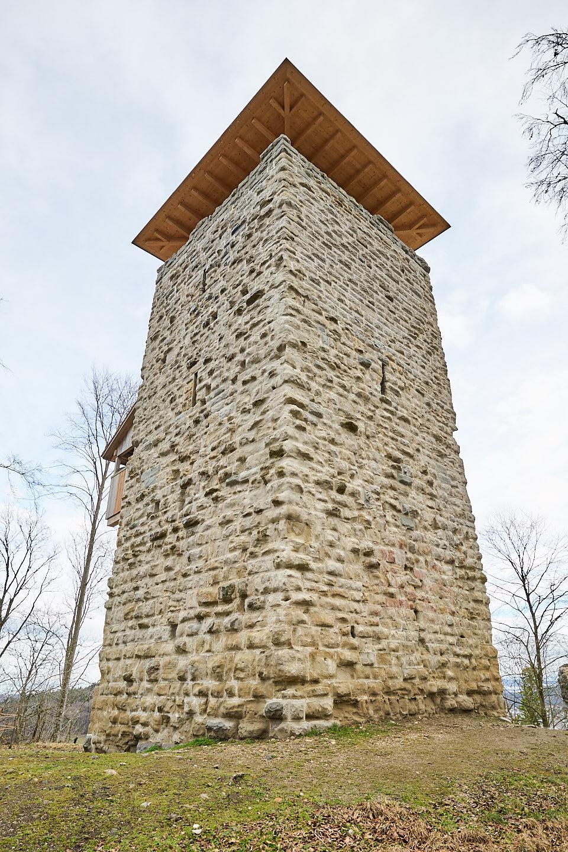 Burgruine Alt-Wülflingen: Ansicht von Westen her