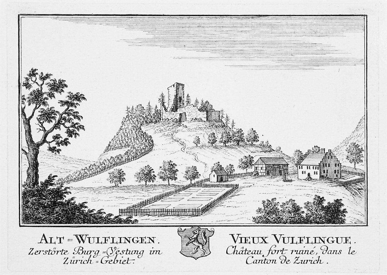Skizze auf der Informationstafel bei der Burgruine Alt-Wülflingen